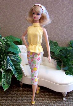 Juliet OOAK Retro Mod Top Flower Power Capris Pants for Vintage Barbie Silkstone and Fashion Royalty doll