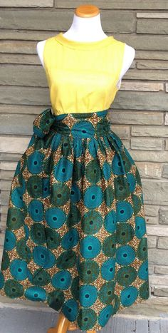 New The Aleshia Skirt- African Print 100% Holland Wax