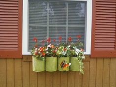 Itty Bitty House: Window Box made from 1 Gallon Food Cans