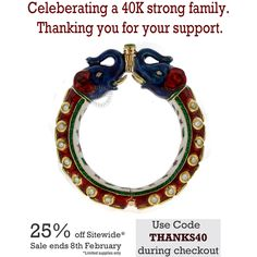 Celebrating a 40K strong insta family and friends with a special sale. Our way of saying thank you for all the love and support! Shop your favorite Indiatrend pieces now at 25% off! Shop at www.indiatrendshop.com! SKU NO:BN4980-2.6 All orders that are unpaid till 2 hours from time of purchase will be cancelled! Happy shopping! Sale ends 8th February #indiatrend #love #customers #family #growing #strong #thanks #gratitude #sale #thanks40 #handcrafted #jewels  by Indiatrend. Shop Now at…