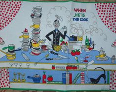 When He's the Cook Vintage Placemats-Mint and Never Used Makeover Tips, Price Sticker, Vintage Kitchen Decor, Clothing Labels, Food Illustrations, Kitchen Interior, Shabby, Mid Century, Mint