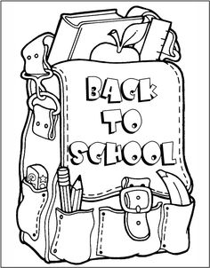 Back To School Coloring Page Back To School Pinterest