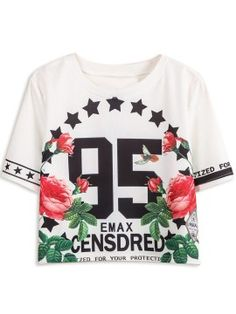 Shop White 95 Floral Print Crop T-shirt from choies.com .Free shipping Worldwide.$13.9