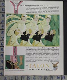 1928 TALON ZIPPER FASHION PURSE MEADVILLE PA NORDELL DECO ART VINTAGE AD MJ BQ42