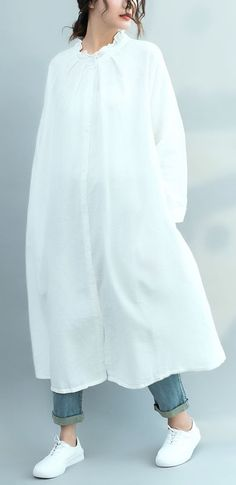 Women stand collar Ruffles linen cotton Robes Korea Inspiration white Plus Size Clothing Dress spring Summer Maxi, Casual Summer Dresses, Spring Dresses, Casual Dresses For Women, Clothes For Women, White Linen Dresses, Cotton Dresses, Women's Fashion Dresses, Dress Outfits