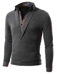 Doublju Mens Polo T-Shirt with Long Sleeve Double Layer Style in 3 Colors CHARCOAL L (KMK01) -  DOUBLJU Brand in Korea is a Brand designed by slim fit style FOR men and women in highest qualities and workmanship to bring buyers A different outlook on