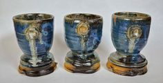 Blue Green & Yellow Pottery Goblets Handmade by AshleyBethPottery, - Ashley Nordberg
