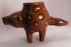 BEAVER-FOLK-POT-Animal-Face-Jug-Spice-Jar-Effigy-Jar-Herb-Caddy