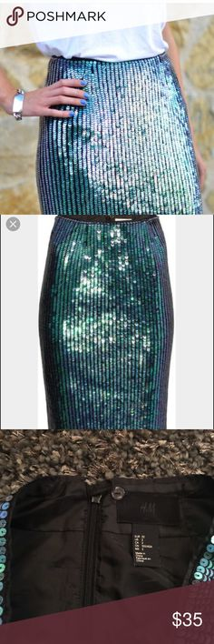 """H&m rare sequin """"mermaid"""" pencil skirt Rare sequin pencil skirt from H&m this skirt sells on ebay for $120. Super high quality sequin. So stunning!!! This runs small. Says size 2 but would best suit a small 2 or size 0. Hidden zipper and button detail in the back. Slit in the back. Great condition H&M Skirts Pencil"""