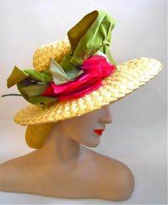 Bright Pink Rose Topped Straw Hat circa 1960s - Dorothea's Closet Vintage