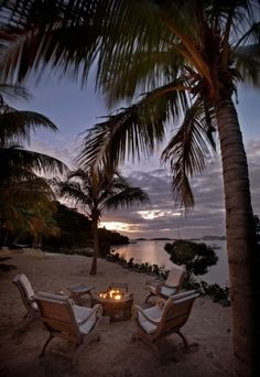beach sunset by the firepit!