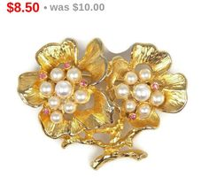 Faux Pearl Pink Rhinestone Double Flower Brooch by TheFashionDen