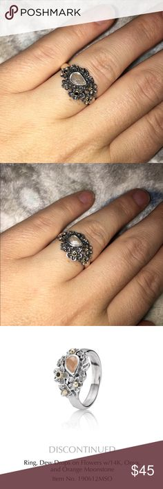 """Pandora orange moonstone/onyx/gold accent ring """"Dew drops on flowers"""" ring. Discontinued! So pretty! Size 6 but fits like a 7. Pandora Jewelry Rings"""