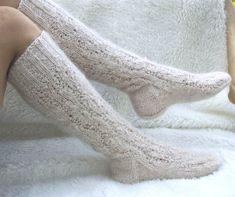 Beautiful knitted white knitted socks for women, long knee-high socks for long legs.Warm long socks made of Russian wool, white, for girls Beautiful knitted white knitted socks for women long   Etsy...  #Beautiful #Girls #kneehigh Long Socks For Girls, Winter Walk, Knitted Slippers, Knee High Socks, Long Legs, Knitting Socks, Wool, Trending Outfits, Beautiful