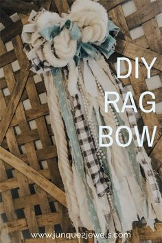 These shabby chic rag bows are perfect for adorning wreaths, signs, door hangers or adding to your home decor. I can even imagine rag bows made in white for wedding decor. Almost every creative project looks cuter with a rag bow and this tutorial makes it so easy! #ragbow #diycraft #weddingdecor Fabric Bows, Fabric Art, Fabric Flowers, Burlap Crafts, Decor Crafts, Diy Crafts, Making Bows, Shabby Chic Crafts, Diy Scarf