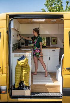 Van Conversion Interior, Camper Van Conversion Diy, Van Interior, Van Conversion Kitchen, Camper Van Kitchen, Build A Camper Van, Van Dwelling, Kombi Home, Van Home
