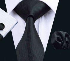 Elegantný kravatový set Bary - kravata + manžety + vreckovka, č.1