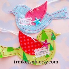 Fabric Bird Ornament Set by trinketsnh on Etsy, $5.75