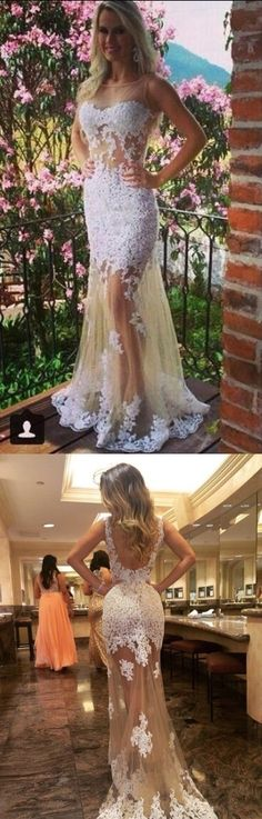 White Lace Prom Dress,See Through Party Dress,Sleeveless Evening Dresses