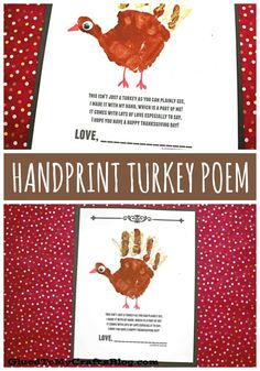 Handprint Turkey Poem – Free Printable – Thanksgiving Kid Craft Idea – Famous Last Words Thanksgiving Crafts For Toddlers, Easy Fall Crafts, Thanksgiving Activities, Halloween Crafts For Kids, Crafts For Kids To Make, Holiday Activities, Kids Crafts, Christmas Crafts, Turkey Poem
