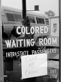 """Freedom Riders: """"Out of Order"""" Sign Pasted to Window for Segregated Waiting Room"""
