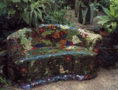 Mosaic sofa. If I make one of these, I'd need drain holes between the back and seat since I'd want to curve the seat more. A few other technical details would need to be worked out before tackling so this is a back burner project.