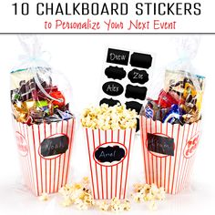 . Want to give your guests a unique experience? Use the Chefast Popcorn Box Pack. Each set includes 10 stylish chalkboard label stickers.   To use, just peel, stick, and write using a regular chalk or liquid chalk marker! If you make an error, simply wipe it clean with a damp cloth or wet wipe then rewrite.   If you want to know more about the Chefast Popcorn Box Pack, just click the image above.