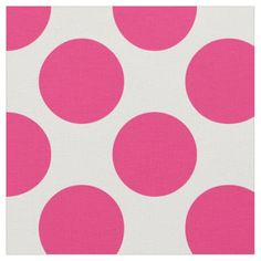 Modern Pink and White Large Polka Dots Fabric