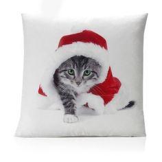 Christmas Kitten Faux Silk Filled Cushion
