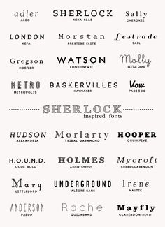 24 Sherlock Themed Fonts - inspired by this post.  download full pack here  1. aleo  2. nexa slab  3. plantagenet cherokee  4. kefa  5. pre...