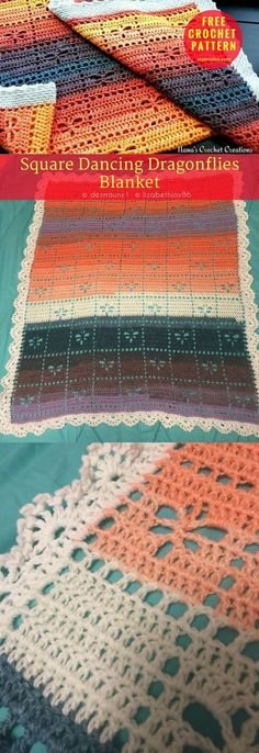"#Square #DancingDragonflies Blanket [Nana's Free Pattern] Blanket → Throw. Measures approx. 32"" × 38"". Written in US Terms. Level: upper beginner. yarn: Lion Brand Mandala (worsted or sport weight) / DK (11 wpi) Hook: 6.0 mm (J). Colorway: 210 Pegasus Author: D Maunz #crochet #crochetblanket #freepattern"