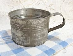 2 Cup Size Antique Tin Mug SOLD