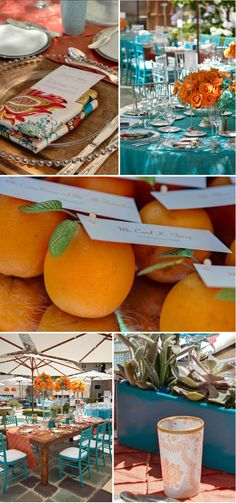 Orange and aqua wedding