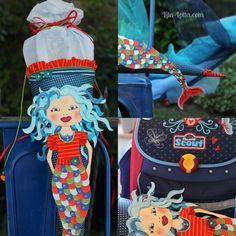 Lila-lotta BLOG / gebastelte Meerjungfrauen-Schultüte farblich  passend zum Kleid