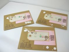 Set of 3 snail mail envelopes decorated by ArasPaperCreations, #snailmail #envelopes #crafts