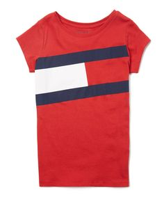 a68ebb8d2f21a7 Tommy Hilfiger Regal Red Flag Logo Short-Sleeve Tee - Girls
