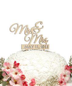 'Mr & Mrs' Custom Date Wooden Cake Topper
