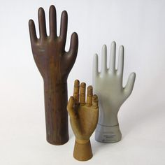 Pleased to meet you. Perfect for those with a taste for curios and oddities, these porcelain, wood and metal vintage hands will add an eye-grabbing and wholly unexpected detail to your dressing table or bookshelf.