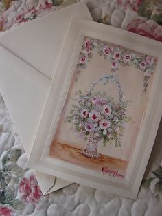 Hand painted victorian basket greeting card.