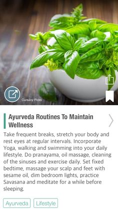 Ayurveda Routines To Maintain Wellness via - Ayurveda Lifestyle Ayurvedic Healing, Holistic Healing, Natural Healing, Ayurveda Pitta, Healing Hands, Holistic Medicine, Naturopathy, Fruit And Veg, Health Diet
