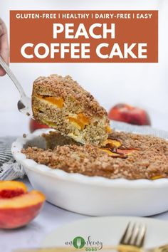 Take your breakfast to the next level with this easy Gluten-free Peach Coffee Cake. Made with juicy fresh peaches, this coffee cake is delicious and sure to make your morning great. An easy to make budget-friendly gluten-free breakfast option, this coffee cake is $7.08 to make, making that only $1.17 per serving! Budget-friendly AND healthy! Ana Ankeny - Healthy Recipes