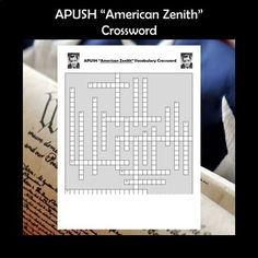 APUSH American Zenith Crossword PuzzleThis crossword puzzle features 22 people, events, and terms from Chapter 36 of the very popular American Pageant textbook. Although the terms came specifically from this book (16th edition), the crossword puzzle would serve as a great review for any APUSH classr... Social Studies Activities, Learning Activities, Teaching Resources, Ap Test, Test Prep, School Levels, School Grades, High School Classroom, Cooperative Learning