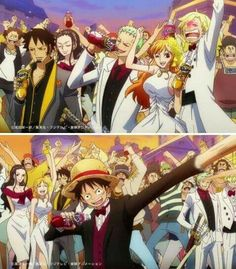 Law, Zoro, Nami, Sanji, Robin, Luffy, suits, outfits, funny, Fanta, commercial, text; One Piece