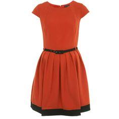 Orange Black Skater Dress $45.00