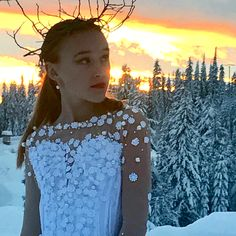 Snow Queen bodice..  Fabulous sunset photo at Silver Star mountain resort January 2018 #snowqueen #ballet #ballettutu #couture #snowphotoshoot