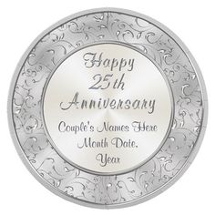 Personalized Silver 25th Anniversary Paper Plates 8 paper plates #25th #anniversary #paper #personalized #plates #silver Homemade Anniversary Gifts, 25th Wedding Anniversary, Anniversary Gifts For Couples, Silver Anniversary, Anniversary Dates, Homemade Wedding Gifts, Birthday Gifts For Sister, Paper Plates, Couple Gifts