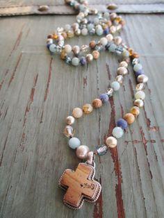 Cross knotted necklace Beach Soul beachy semi by slashKnots