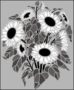 Garden Room Sunflowers  stencils, stensils and stencles