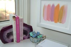 gorgeous office space featuring art work by Cocoa & Hearts -- geode bookends? Geode Bookends, Sequins And Stripes, Home Decor Trends, Model Homes, Decorating Your Home, Decorating Ideas, Decor Ideas, Office Decor, Minerals