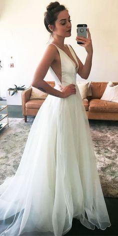 33 Simple Wedding Dresses For Elegant Brides ❤️ See more: http://www.weddingforward.com/simple-wedding-dresses/ #wedding